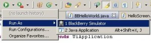 Run In Blackberry Simulator